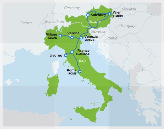 EN AustriaItaly EuroNight - Italy and austria map
